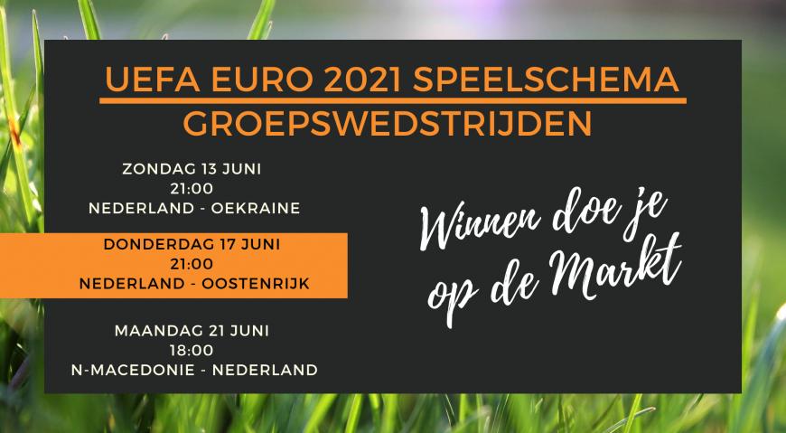 EK 2021 Update met Speelschema Groepswedstrijden